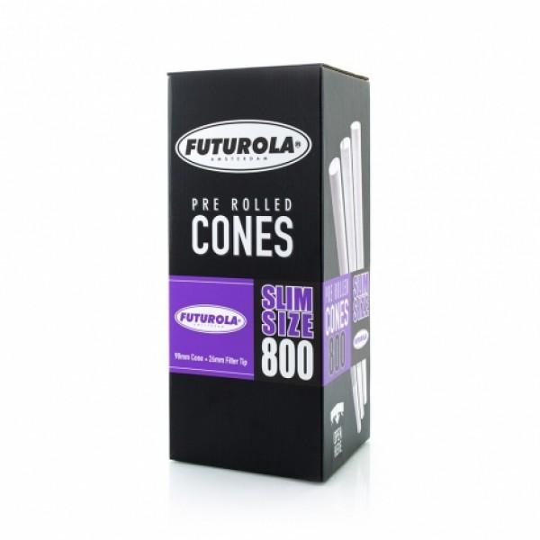 Futurola Slim Size - 98/26 Case [800 Classic White Cones]