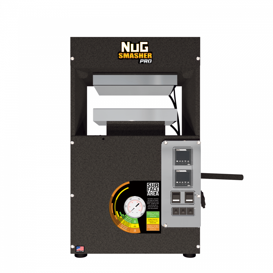 NugSmasher Pro is a 20 Ton Pneumatic (or manual) operated Rosin Press.