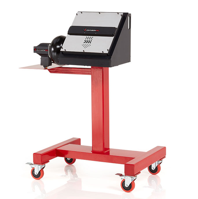 CenturionPro GC1 Gentle Cut Bucking Machine shown with optional stand