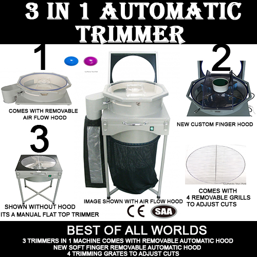 3 in 1 Automatic Trimmer trim your buds your way. Automatic air flow hood, Soft Finger Hood or manual stand up trimmer.