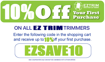 save 10% off ez trimmer satelite wet or dry leaf trimmers