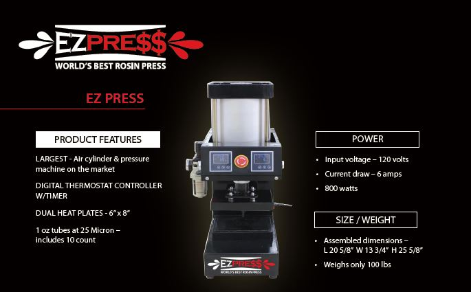 EZ PRESS rosin press comes with stand, press, micron tubes, heat plates, air compressor, all fittings, and digital thermometer.