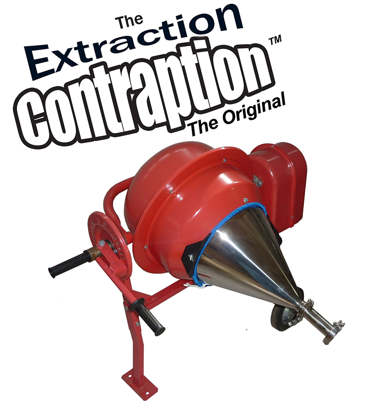 The Original Extraction Contraption harnesses the sub-zero temperatures of dry ice sublimation along with centrifugal force to produce plant essence in a fraction of the time of traditional processes.