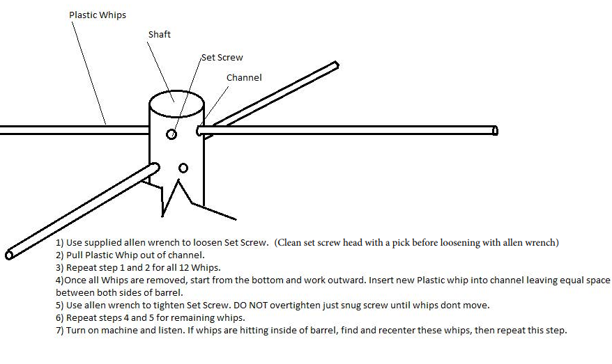 high tech shredder whip replacement instructions