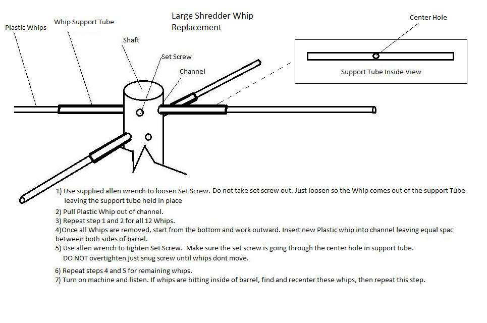 large high tech shredder whip replacement instructions