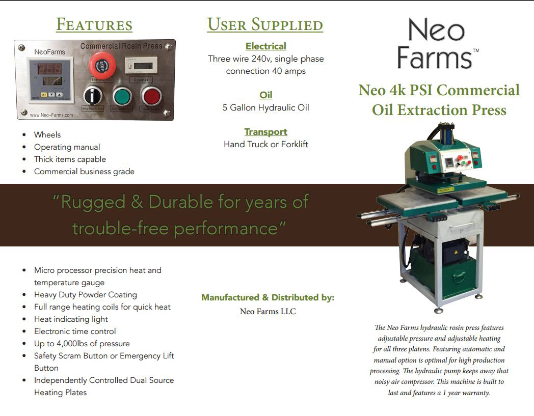 Neo Farms Hydraulic Rosin Press