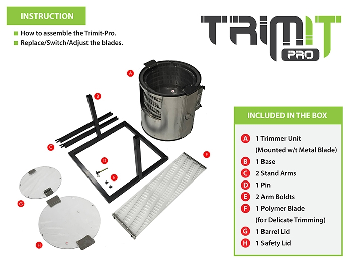 trimit pro dry trimmer page two set up instructions