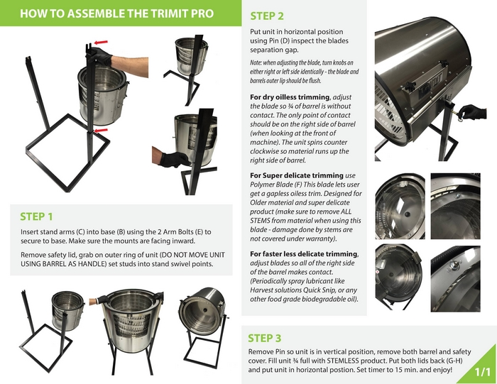 trimit pro dry trimmer page three set up instructions